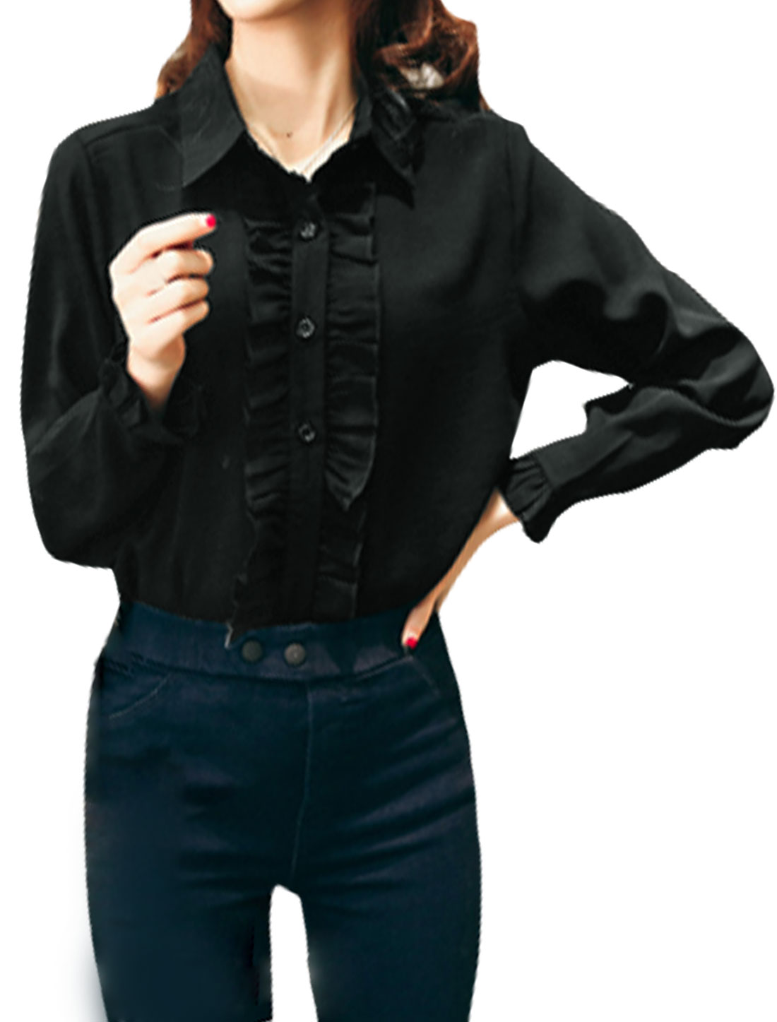 Women Point Collar Ruffled Front Single Breasted Blouse Black XS