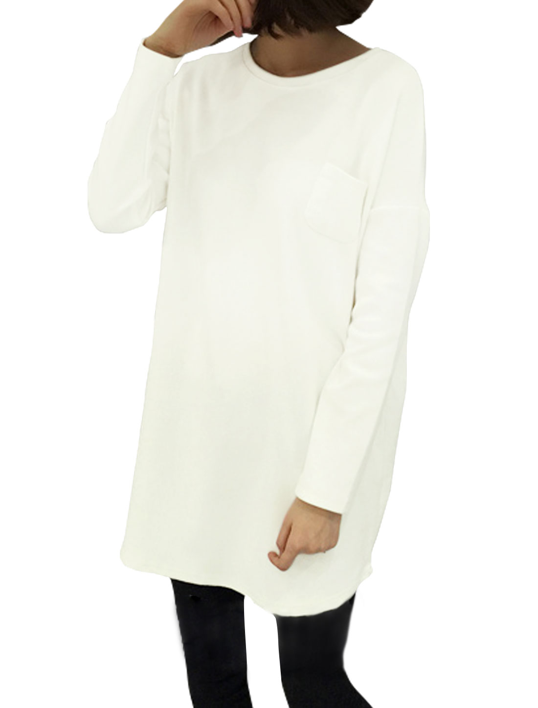 Women Dolman Sleeves Drop Shoulder Loose Tunic Blouse White S