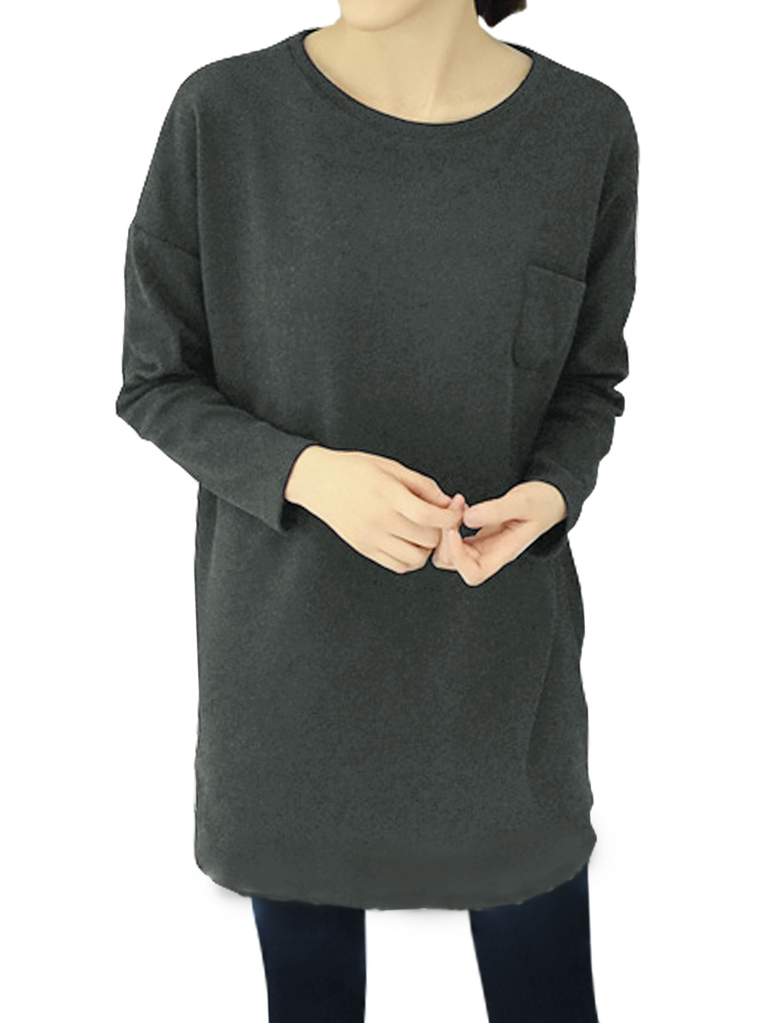 Women Dolman Sleeves Drop Shoulder Loose Tunic Blouse Gray S