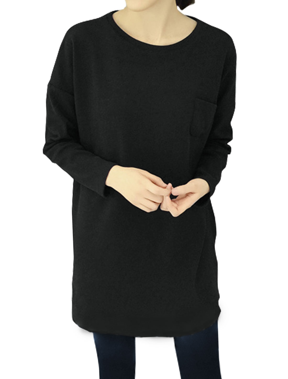 Women Dolman Sleeves Drop Shoulder Loose Tunic Blouse Black S