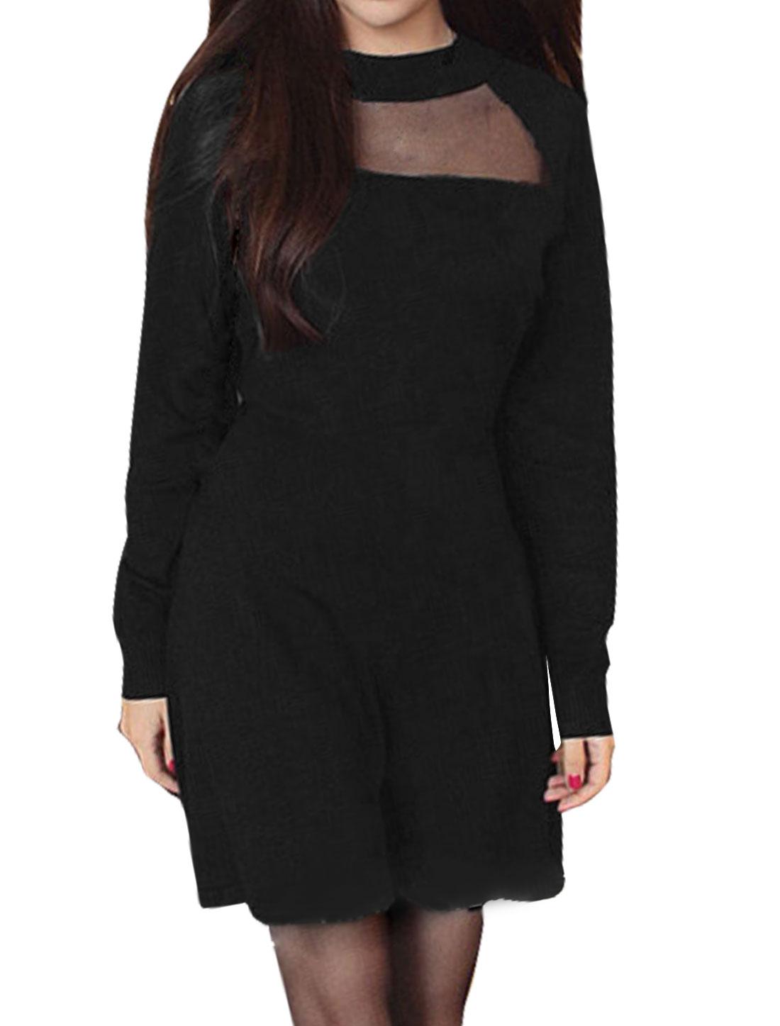 Women Mock Neck Organza Panel Raglan Mini A Line Dress Black S