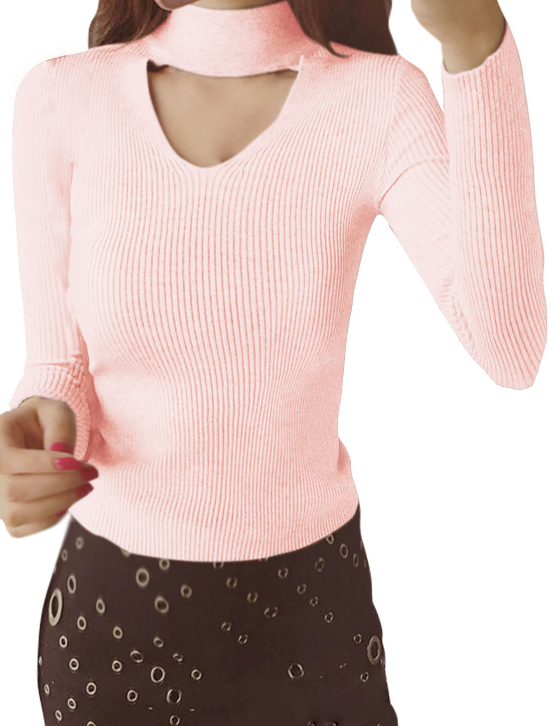 Women Mock Neck Cut Out Front Keyhole Back Slim Fit Ribbed Top Pink XS