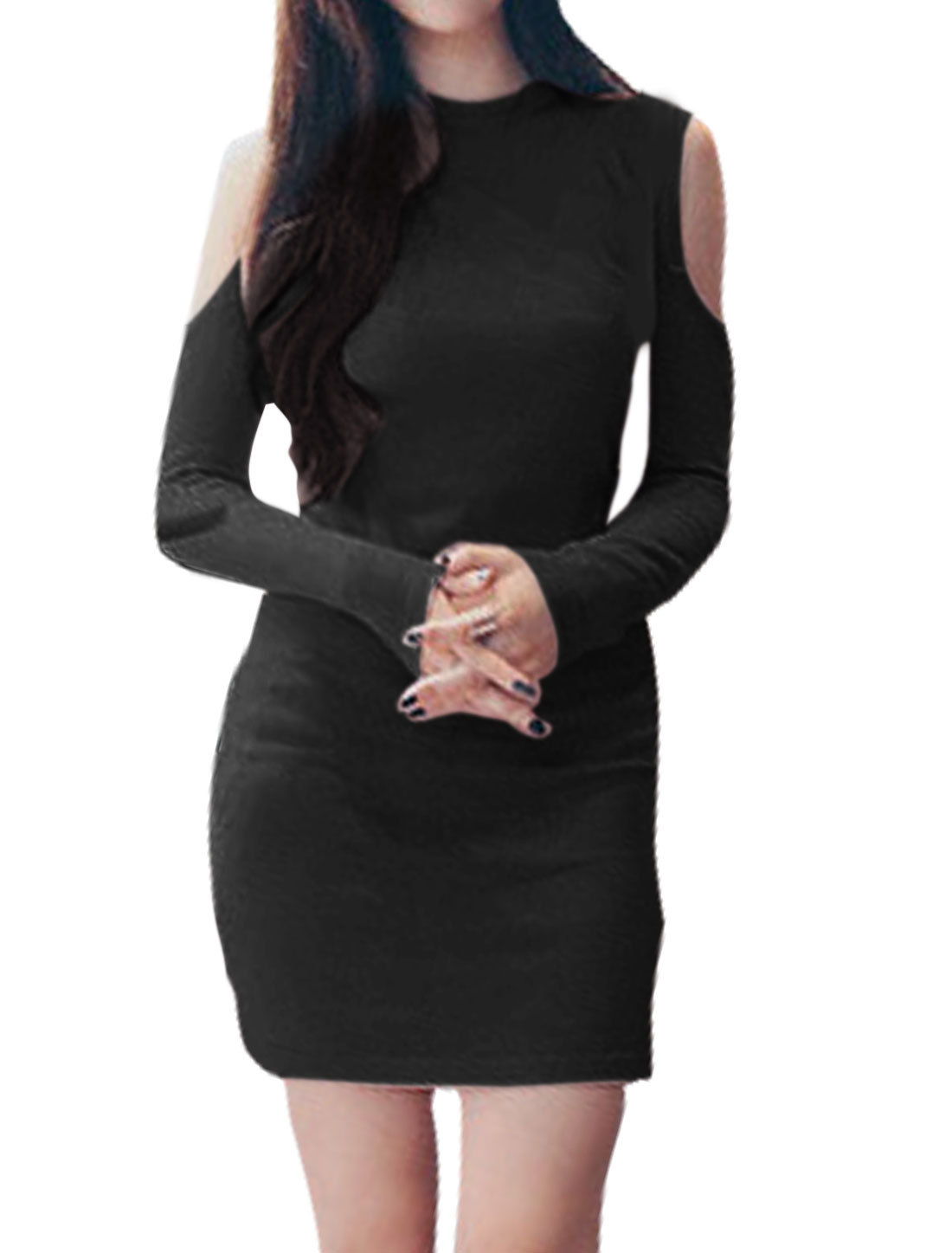 Women Long Sleeves Crew Neck Cut Out Shoulder Bodycon Dress Black XS