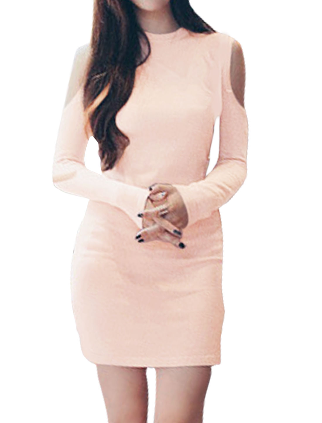 Women Long Sleeves Crew Neck Cut Out Shoulder Bodycon Dress Pink XS
