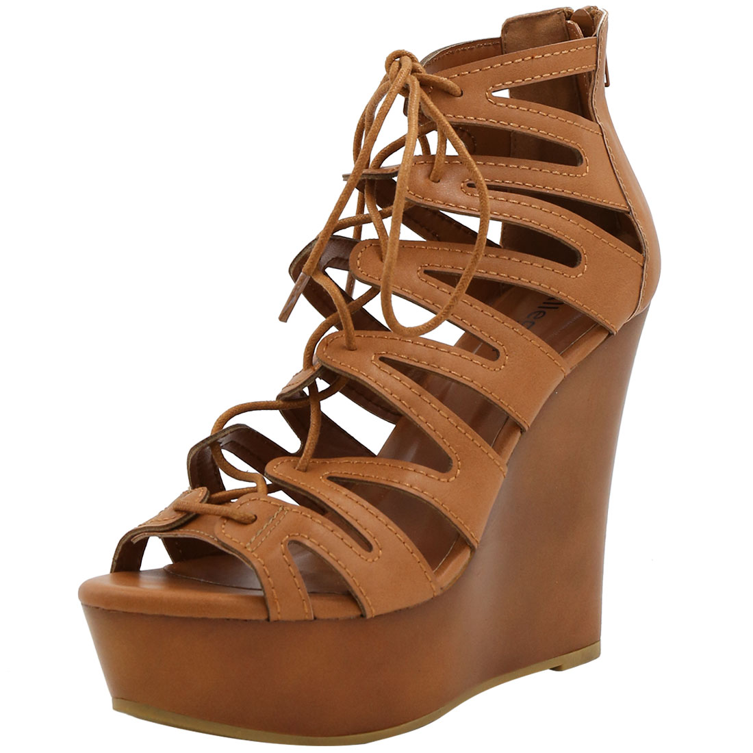 Woman Open Toe Lace-Up Cutout Platform Wedge Sandals Brown US 7