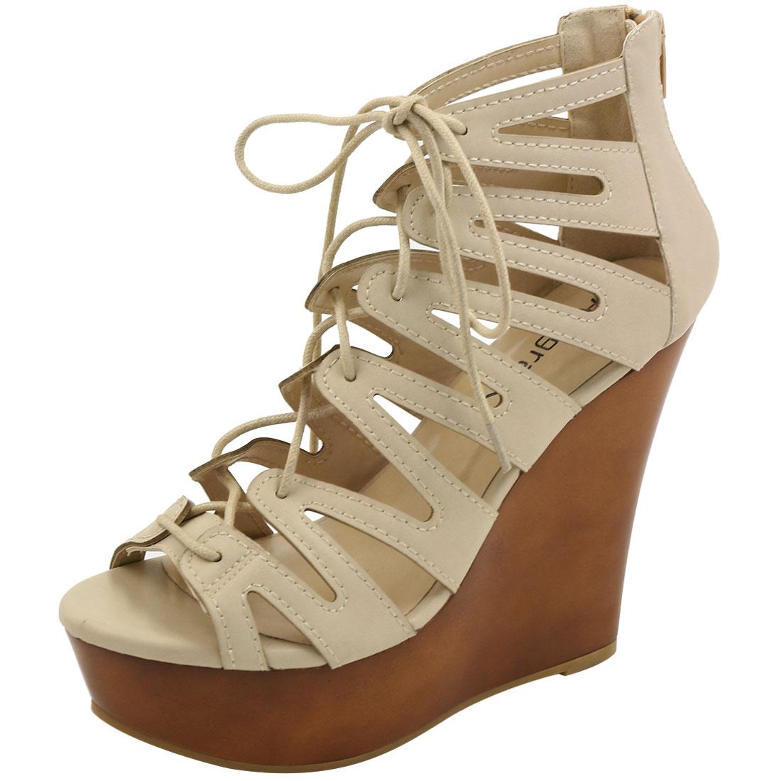 Woman Open Toe Lace-Up Cutout Platform Wedge Sandals Beige US 7