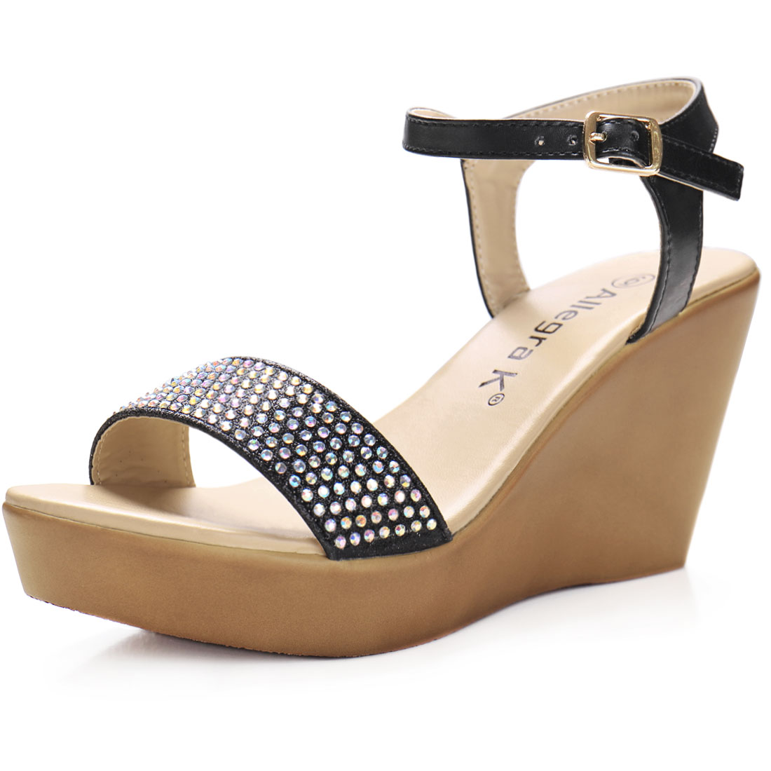 Woman Rhinestones Embellished Open Toe Wedge Sandals Black US 7
