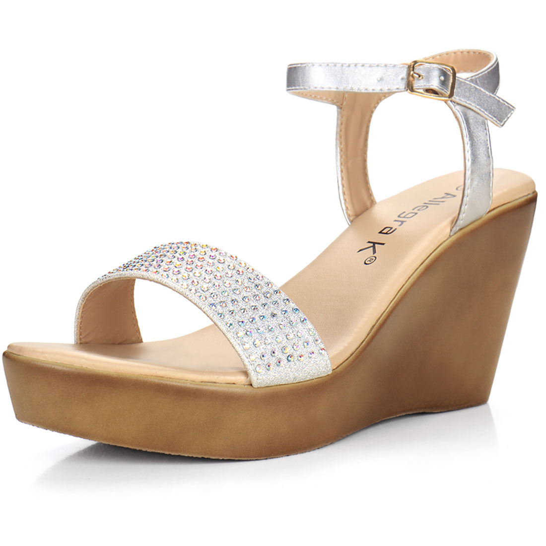 Woman Rhinestones Embellished Open Toe Wedge Sandals Silver US 8