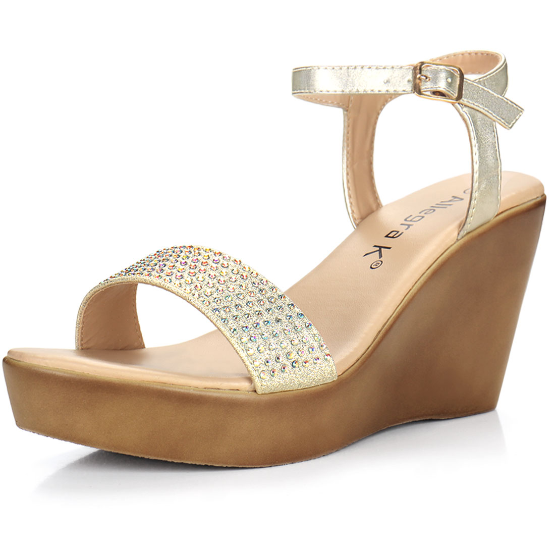 Woman Rhinestones Embellished Open Toe Slingback Wedge Sandals Gold US 11