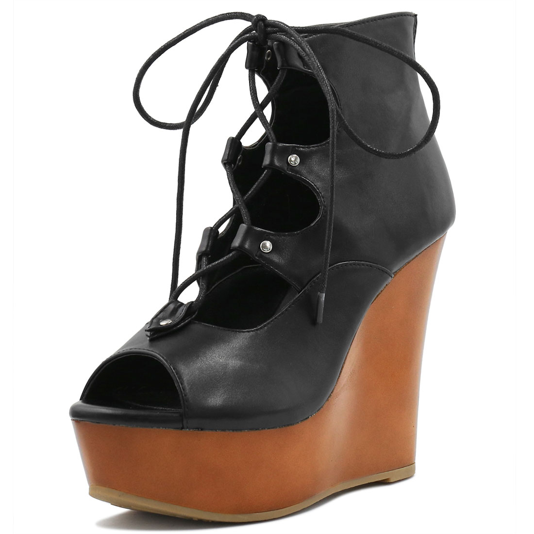 Woman Peep Toe Lace-Up Cutout Platform Wedge Sandals Black US 7