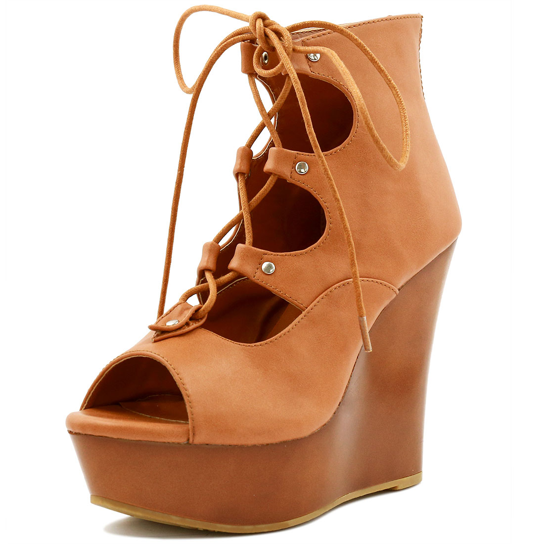 Woman Peep Toe Lace-Up Cutout Platform Wedge Sandals Brown US 7
