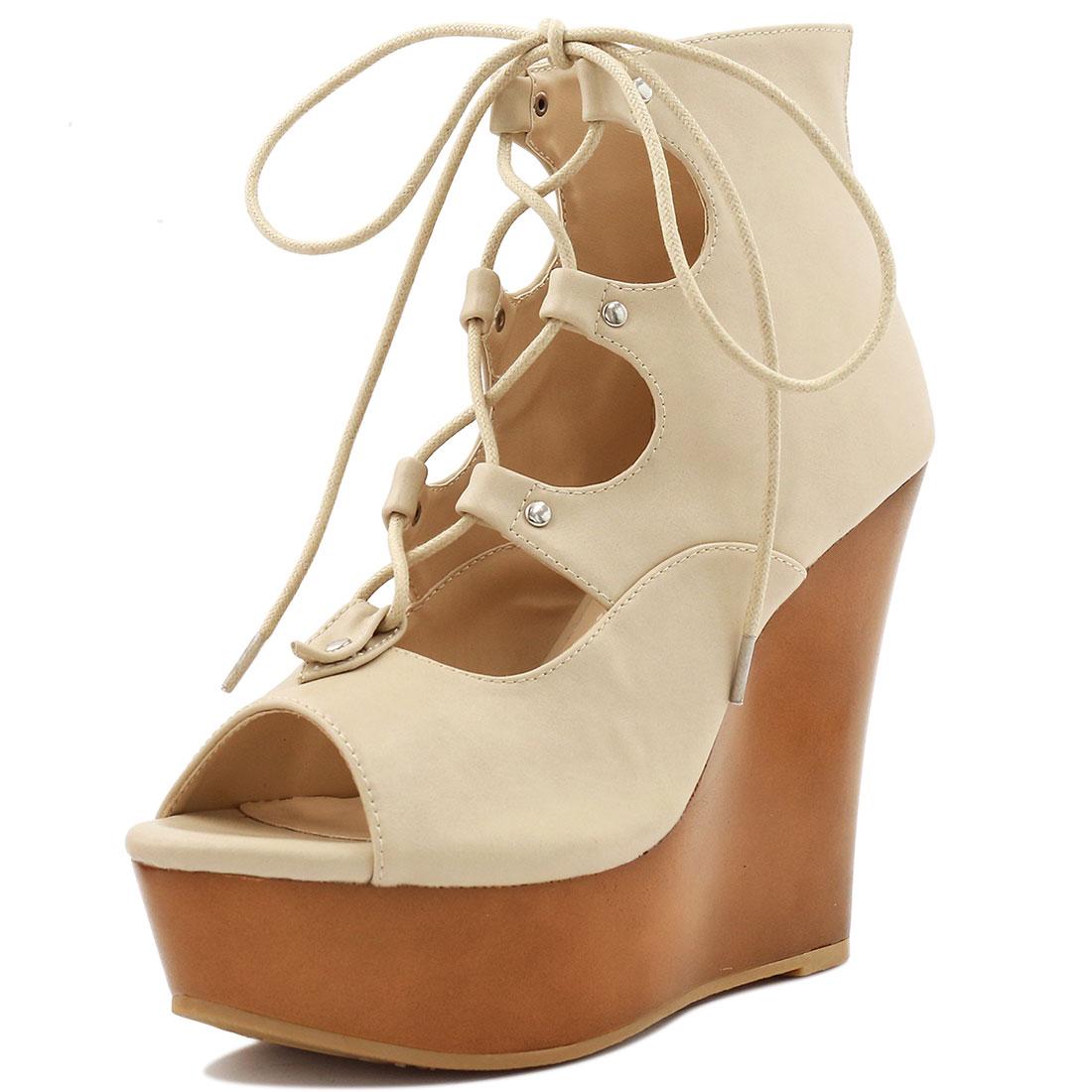 Woman Peep Toe Lace-Up Cutout Platform Wedge Sandals Beige US 6