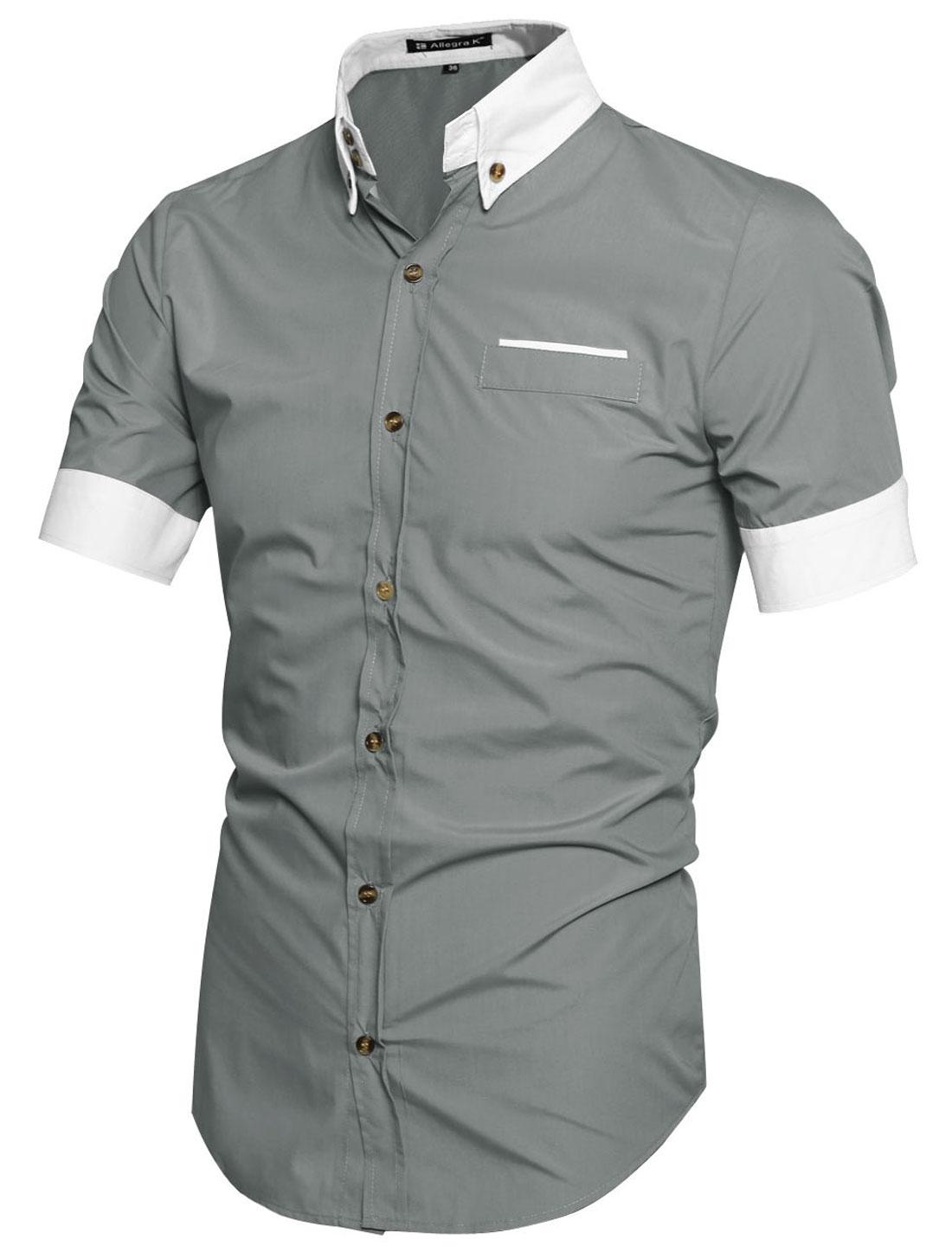 Men Stylish Point Collar Contrast Button Down Short Sleeve Shirt Light Gray L