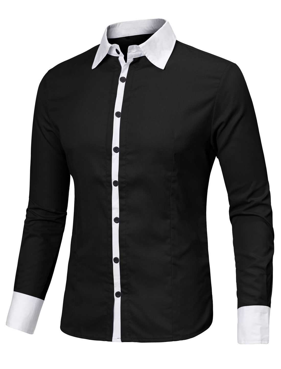 Men Contrast Color Long Sleeves Slim Fit Button Up Shirt Black L