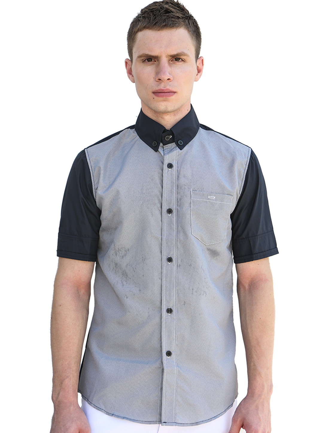 Men Short Sleeves Houndstooth Prints Button Down Shirt Navy Blue L