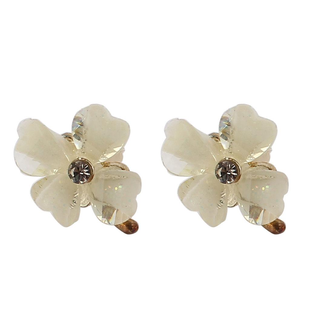 Lady Metal Dangling Ring Hexapetalous Flower Pendant Hook Earrings Red Pair