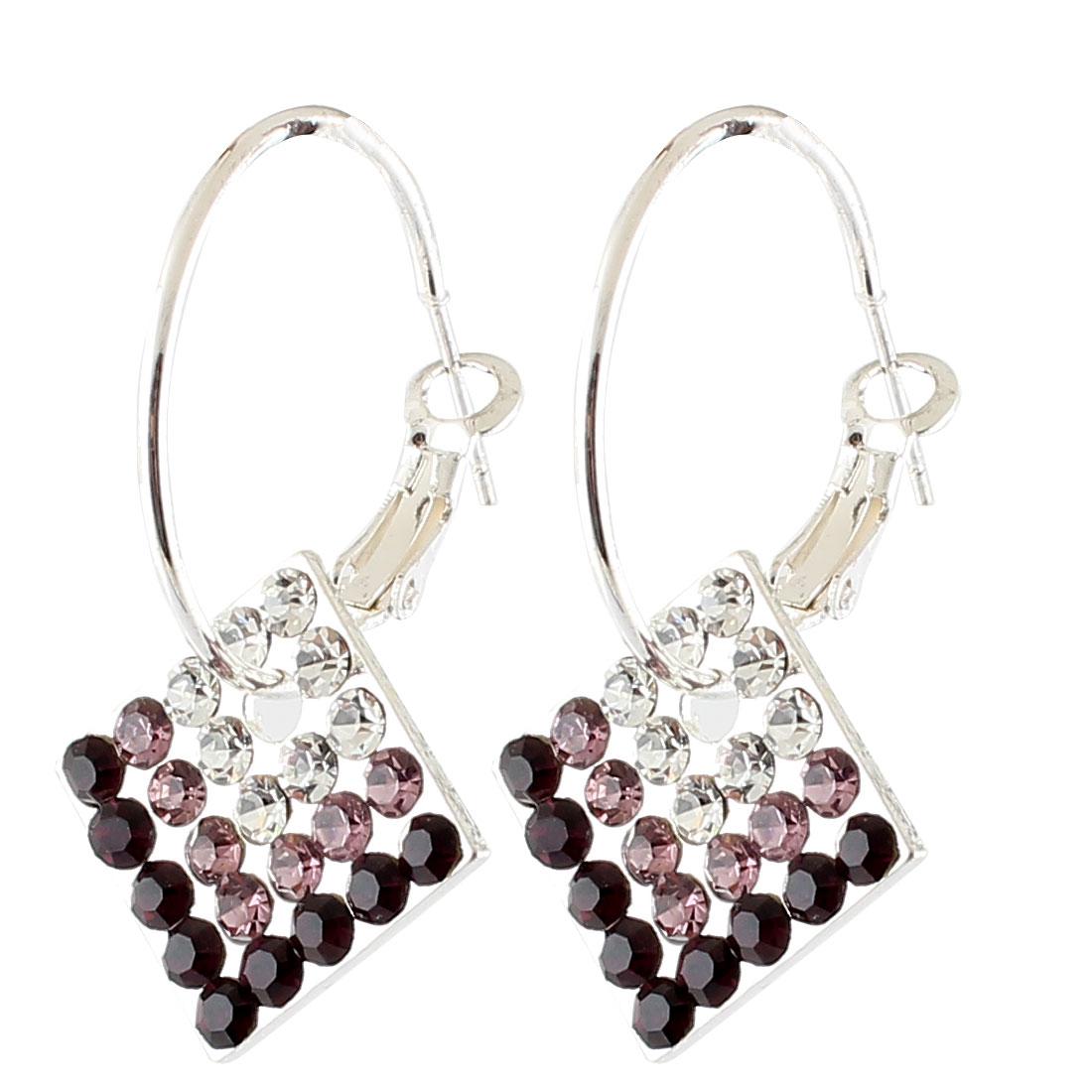 Lady Metal Ring Rhinestones Inlaid Quadrate Dangling Pendant Hook Earrings Purple Pair