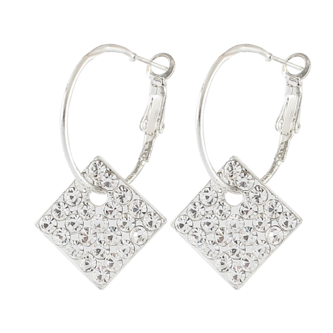 Woman Metal Ring Rhinestones Inlaid Quadrate Pendant Hook Earrings White Pair