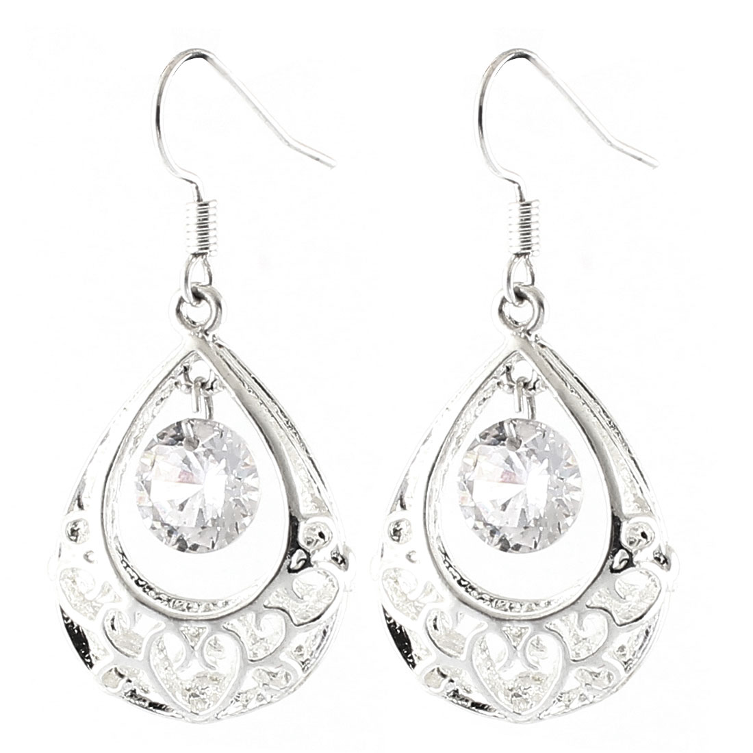 Lady Metal Drops Rhinestone Dangling Pendant Hollowed-out Hook Earrings Silver Tone Pair