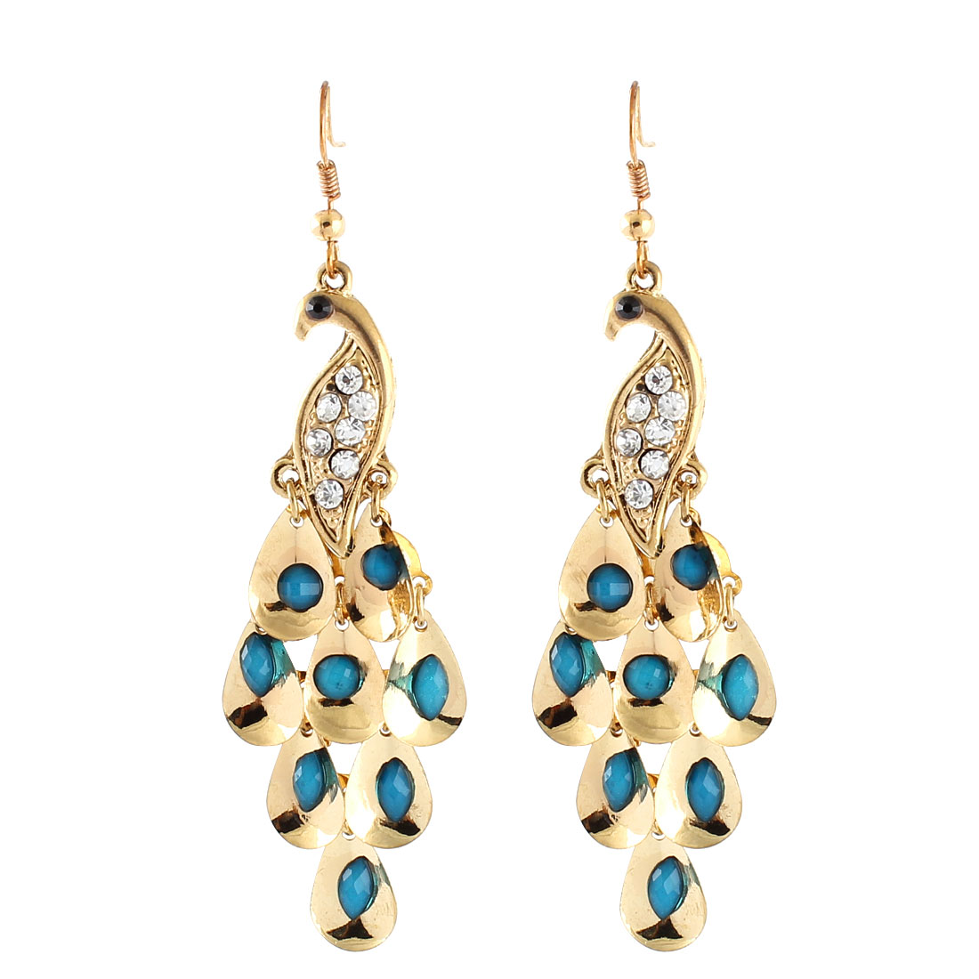 Women Metal Dangling Peafowl Style Pendant Rhinestone Inlaid Hook Earrings Teal Blue Pair