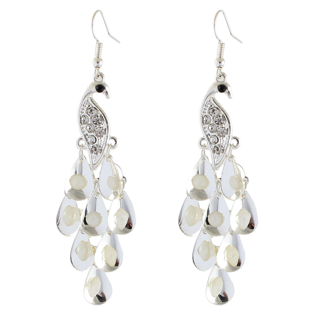 Women Metal Peacock Designed Rhinestone Inlaid Ornament Hook Earrings Silver Tone Pair