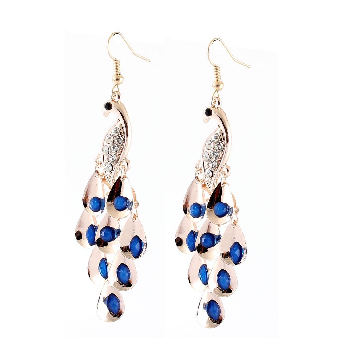 Lady Metal Dangling Peafowl Pendant Rhinestone Inlaid Hook Earrings Dark Blue Pair