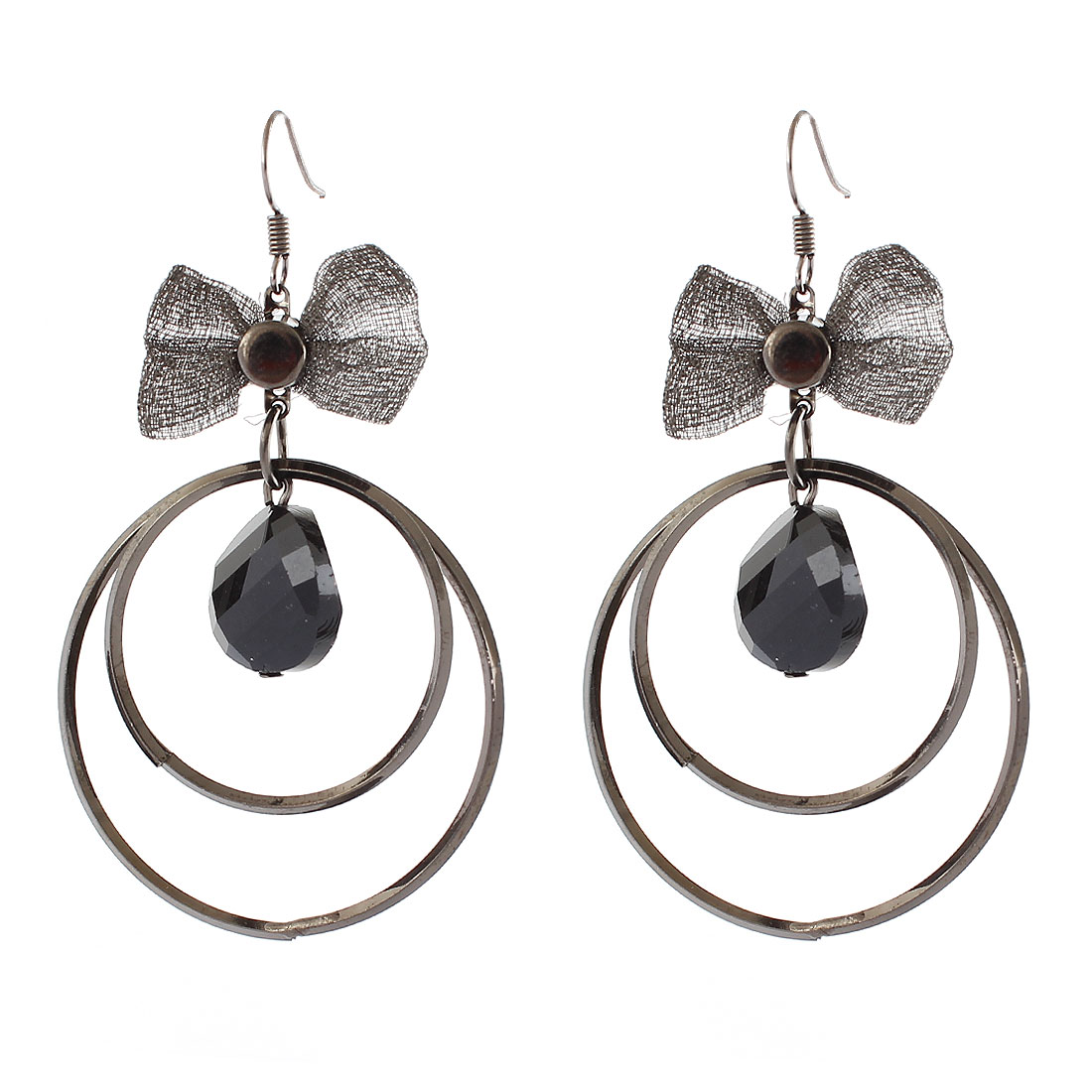 Lady Metal 2 Dangling Circles Bowknot Ornament Hook Earrings Black Pair