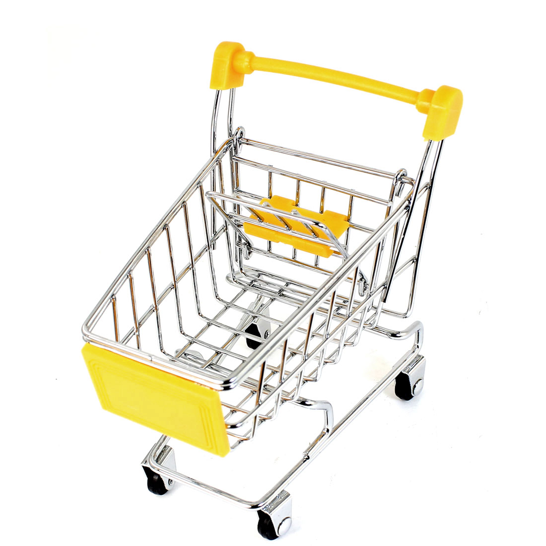 "Metal Mini Trolly Decoration Removable Storage Rack Tool 4"" High Yellow"