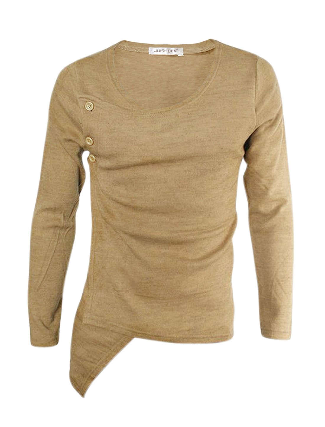 Men Long Sleeves Buttons Side Wrap Design Slim Fit Top Beige S