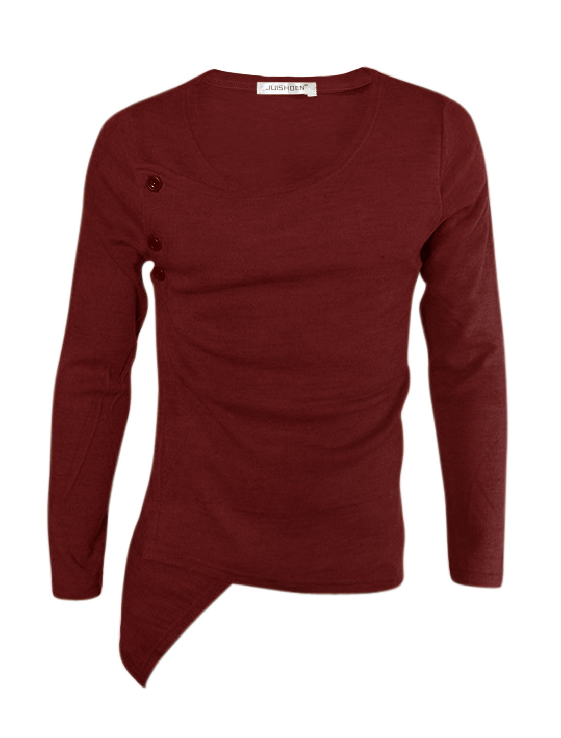 Men Long Sleeves Buttons Side Wrap Design Slim Fit Top Red S