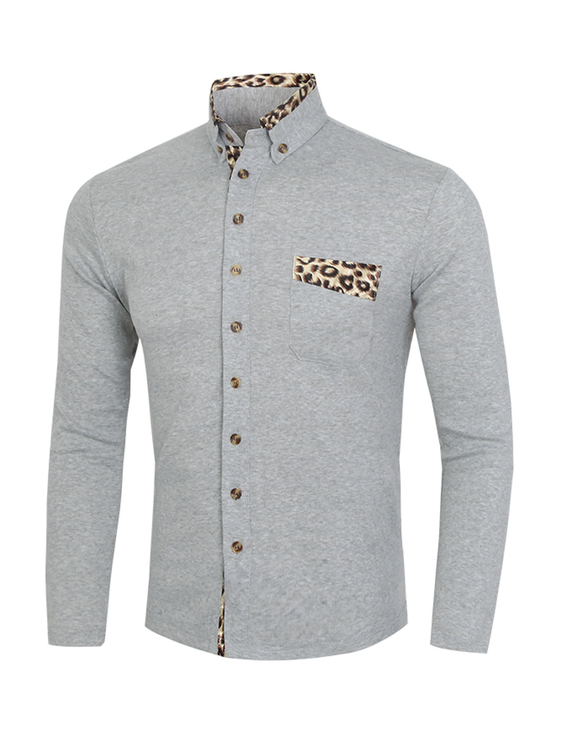 Men Point Collar Button Down Leopards Panel Slim Fit Shirt Gray S