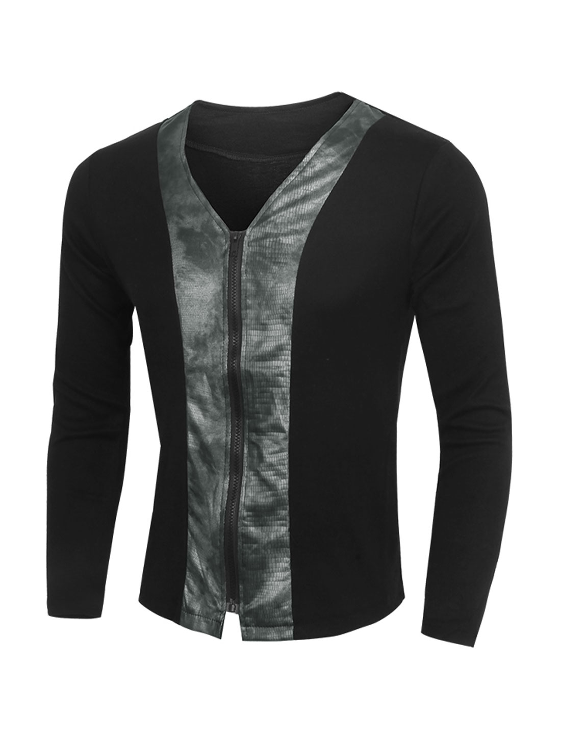Men V Neck Snakeskin-Effect PU Panel Slim Fit Cardigan Black M