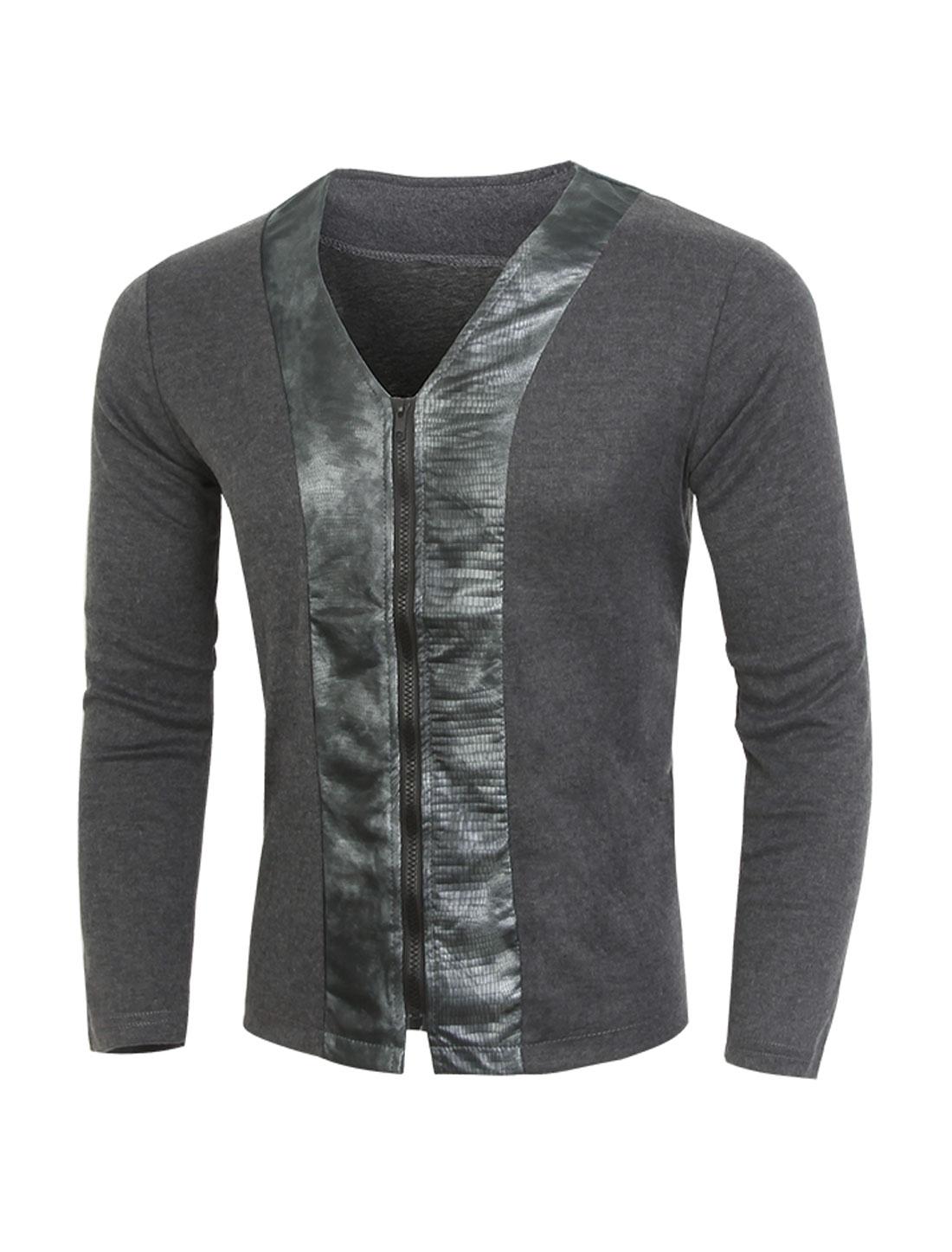 Men V Neck Snakeskin-Effect PU Panel Slim Fit Cardigan Gray M