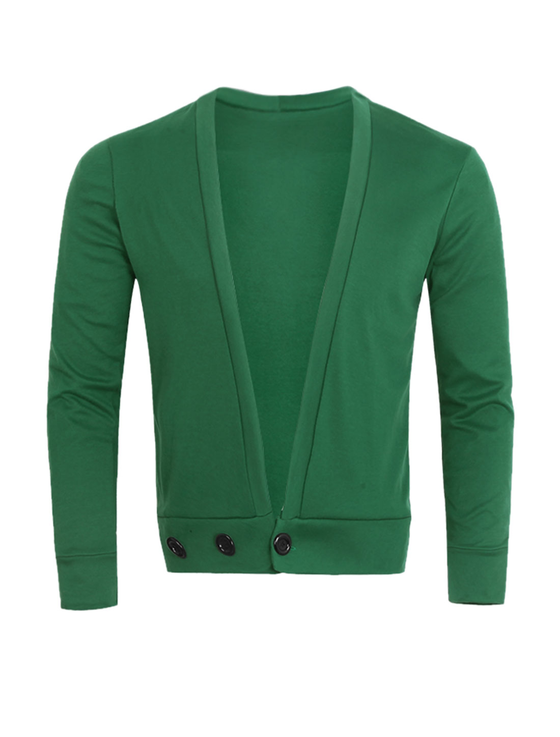 Men Deep V Neck One Button Closed Slim Fit Cardigan Green S