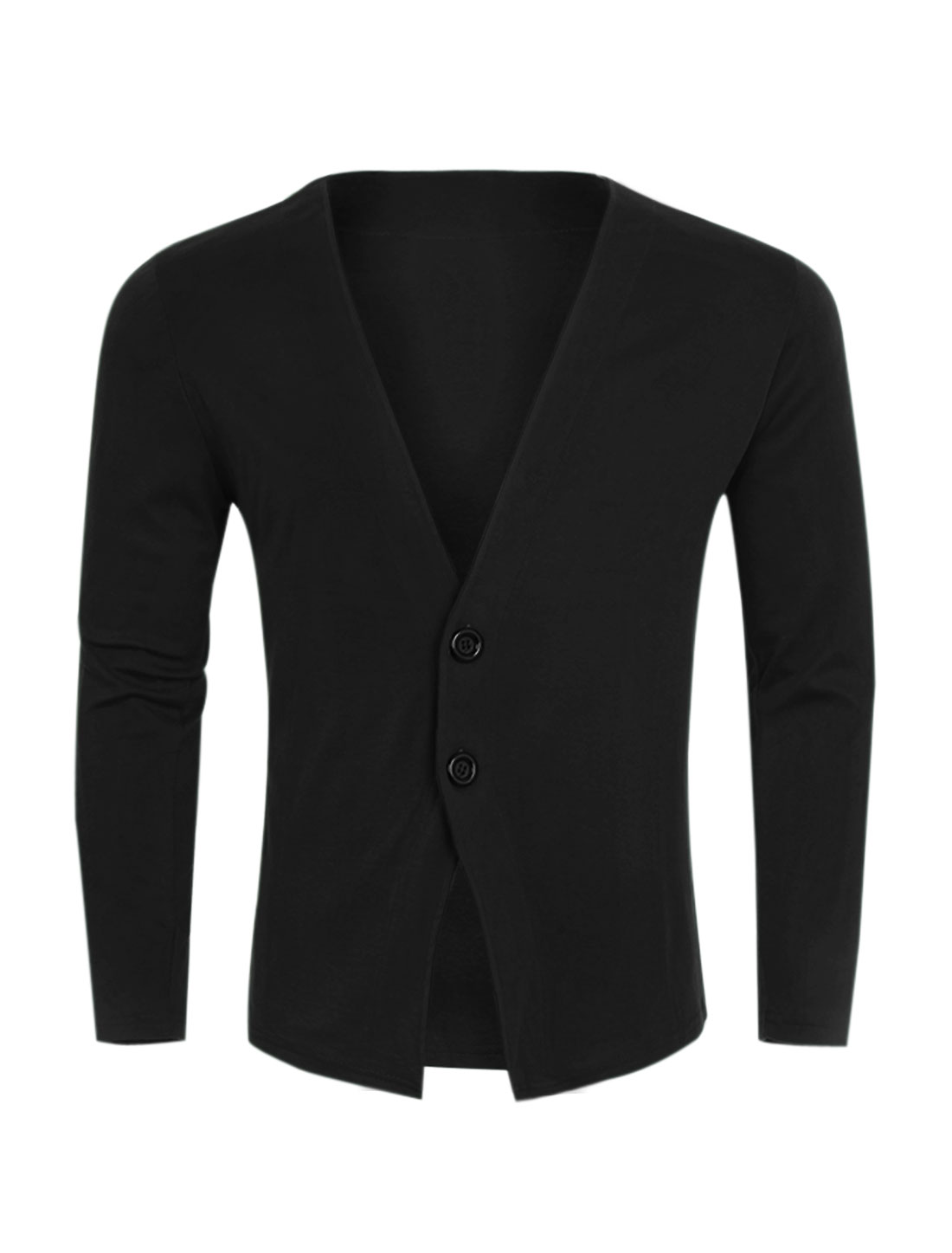 Men Deep V Neck Two Buttons Closed Slim Fit Cardigan Black S