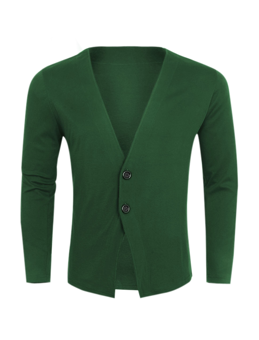 Men Deep V Neck Two Buttons Closed Slim Fit Cardigan Green S