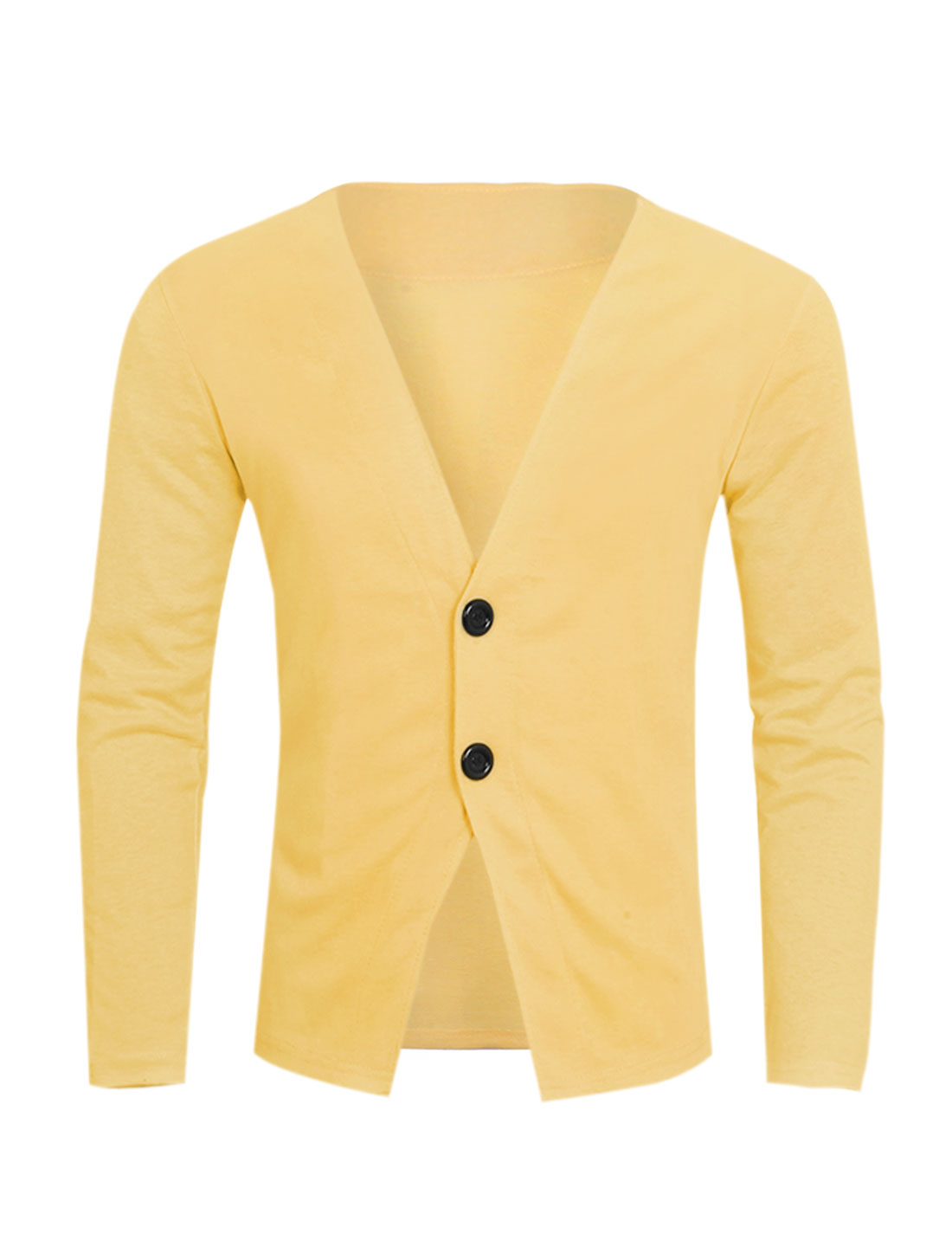 Men Deep V Neck Two Buttons Closed Slim Fit Cardigan Yellow S