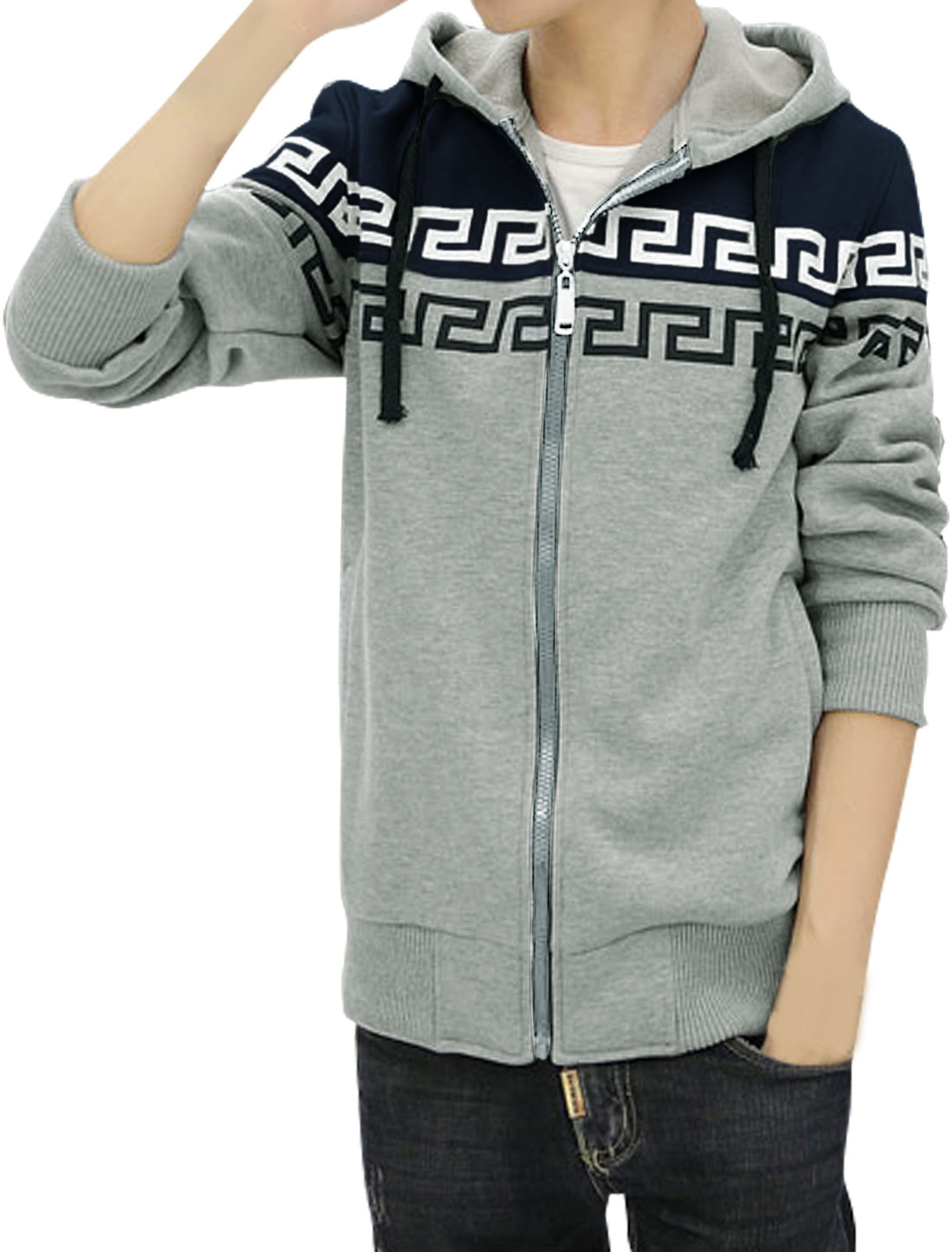 Men Contrast Color Drawstring Geometric Fleece Lined Hoodie Navy Blue M