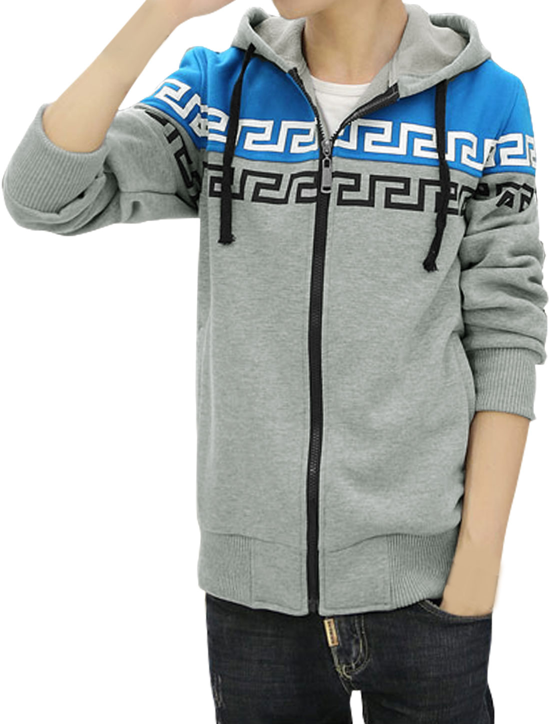 Men Contrast Color Drawstring Geometric Fleece Lined Hoodie Light Blue M