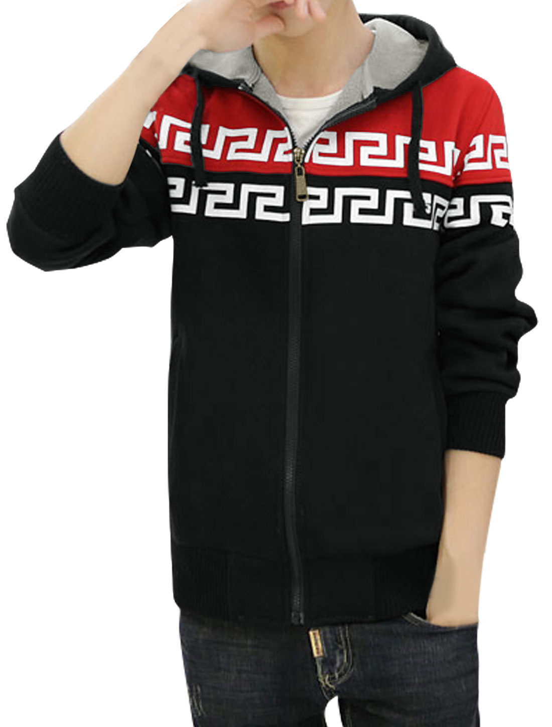 Men Contrast Color Drawstring Geometric Fleece Lined Hoodie Red M