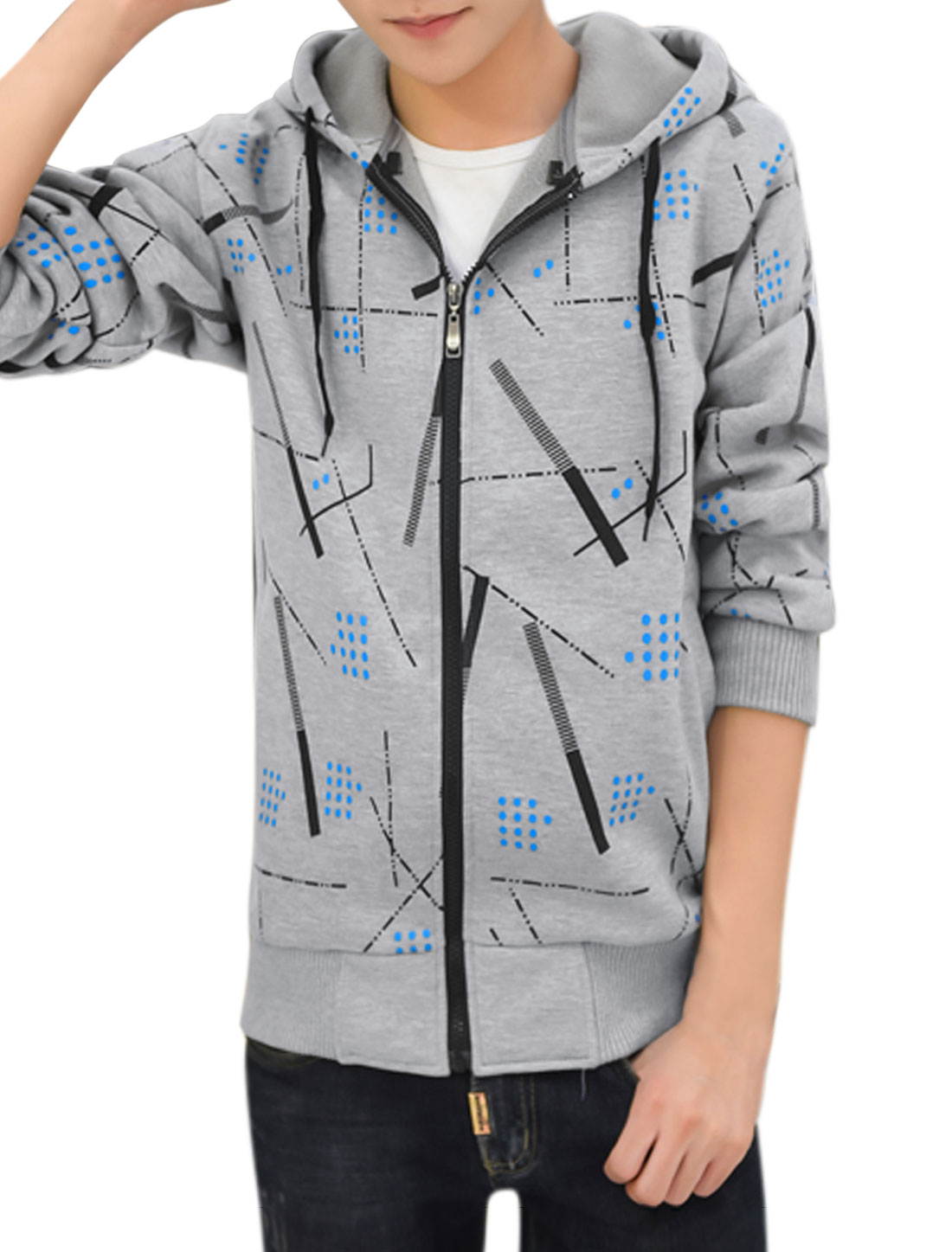 Men Zip Up Slim Fit Hooded Fleece Geometric Jacket Gray M