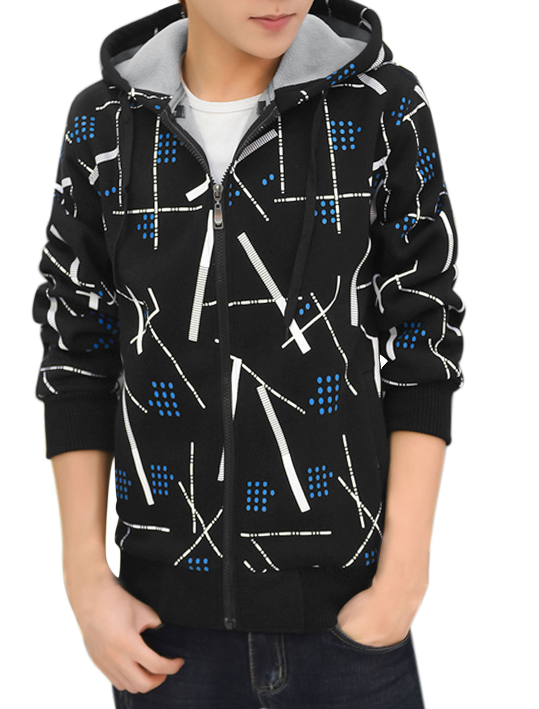 Men Zip Up Slim Fit Hooded Fleece Geometric Jacket Black M