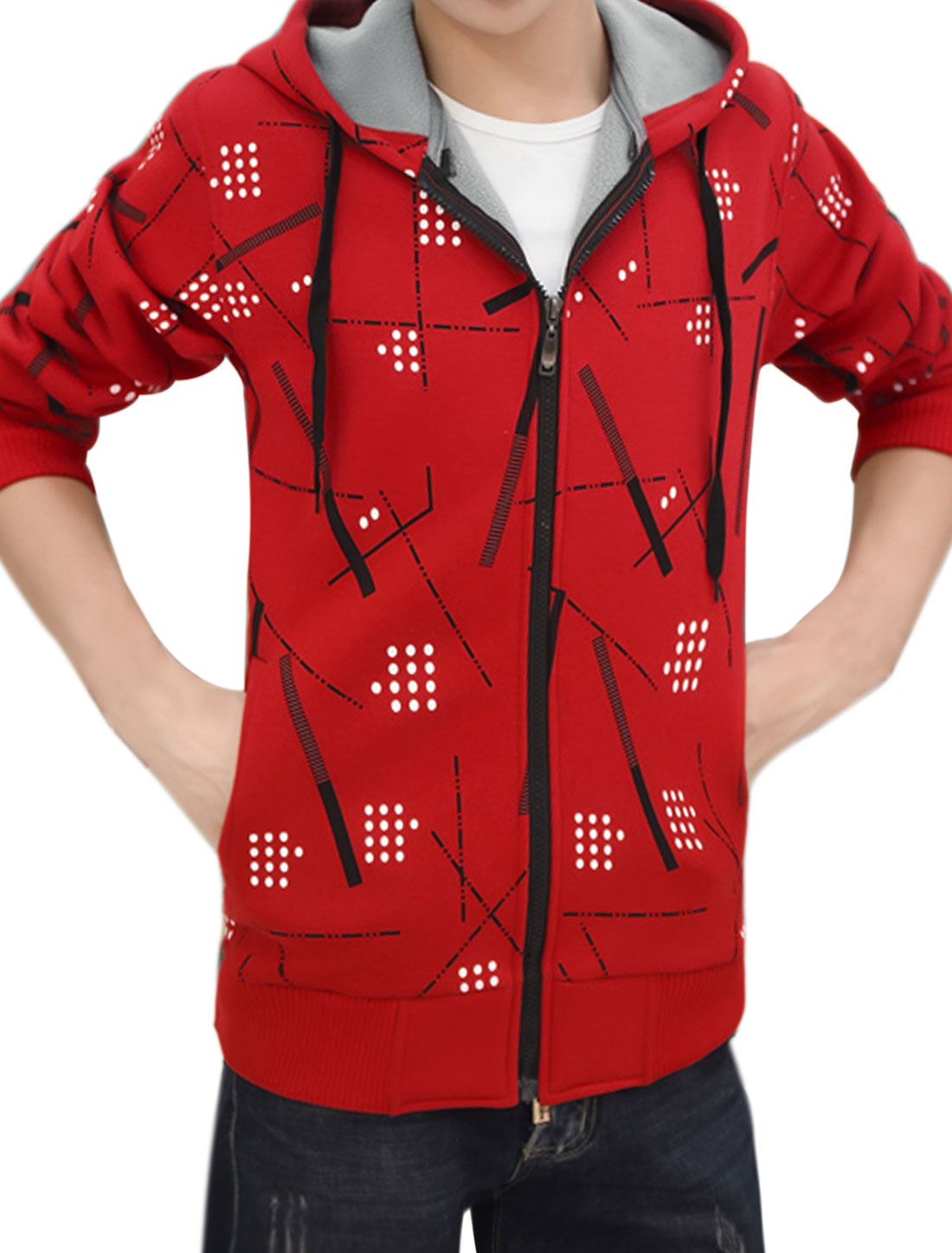 Men Zip Up Slim Fit Hooded Fleece Geometric Jacket Red M