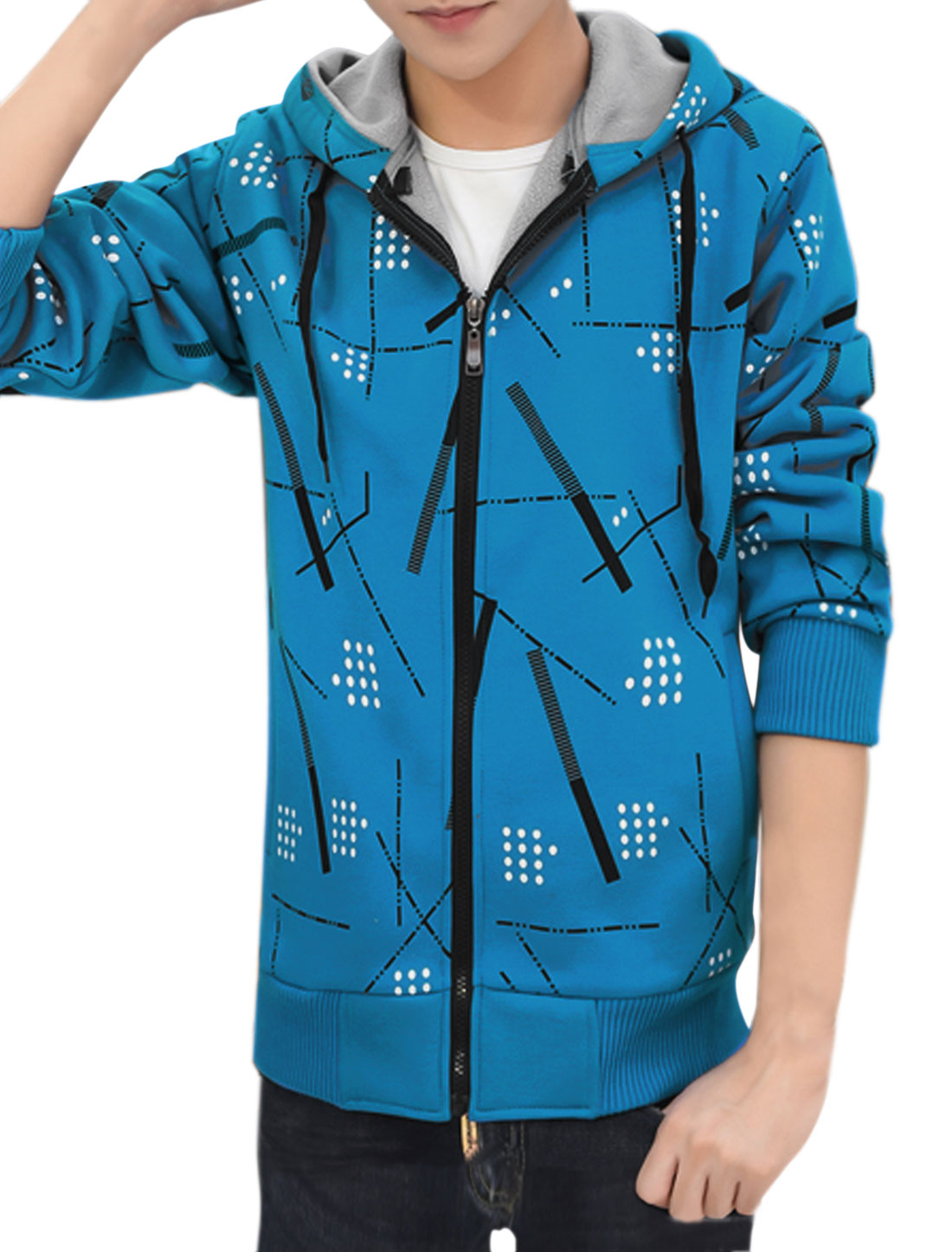 Men Zip Up Slim Fit Hooded Fleece Geometric Jacket Blue M