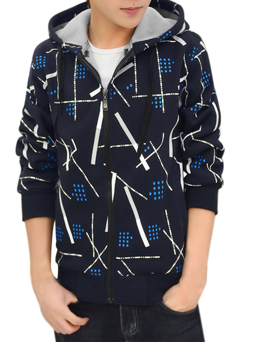 Men Zip Up Slim Fit Hooded Fleece Geometric Jacket Navy Blue M
