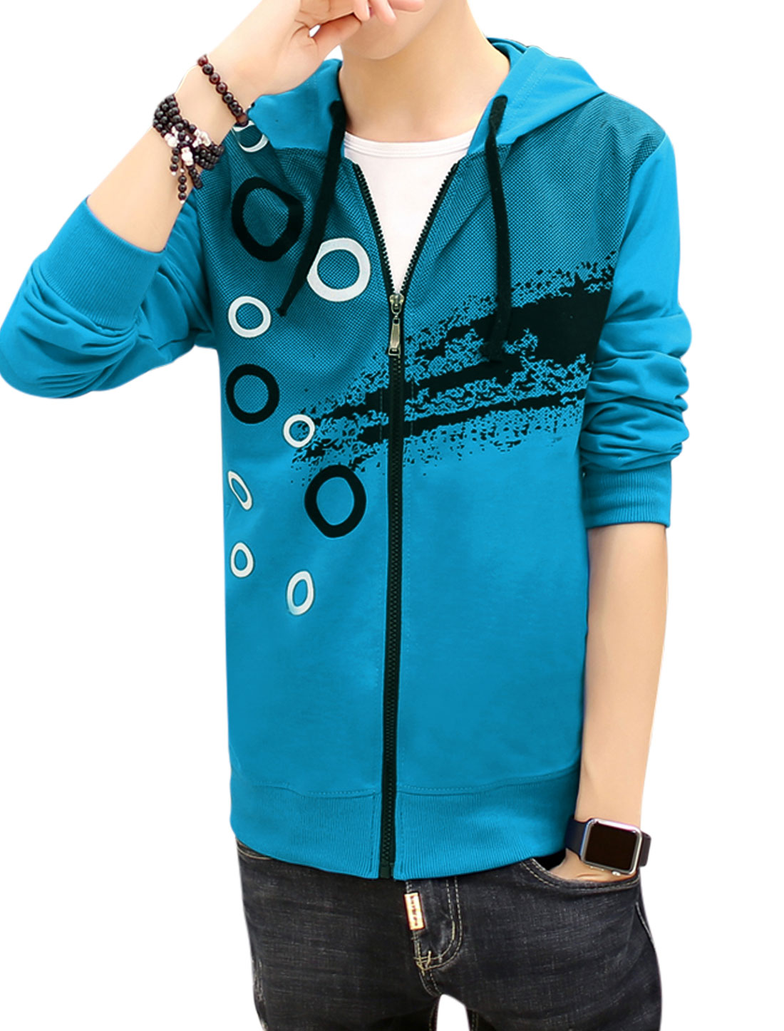 Men Slim Fit Hooded Dots Circle Splash-ink Print Jacket Blue S