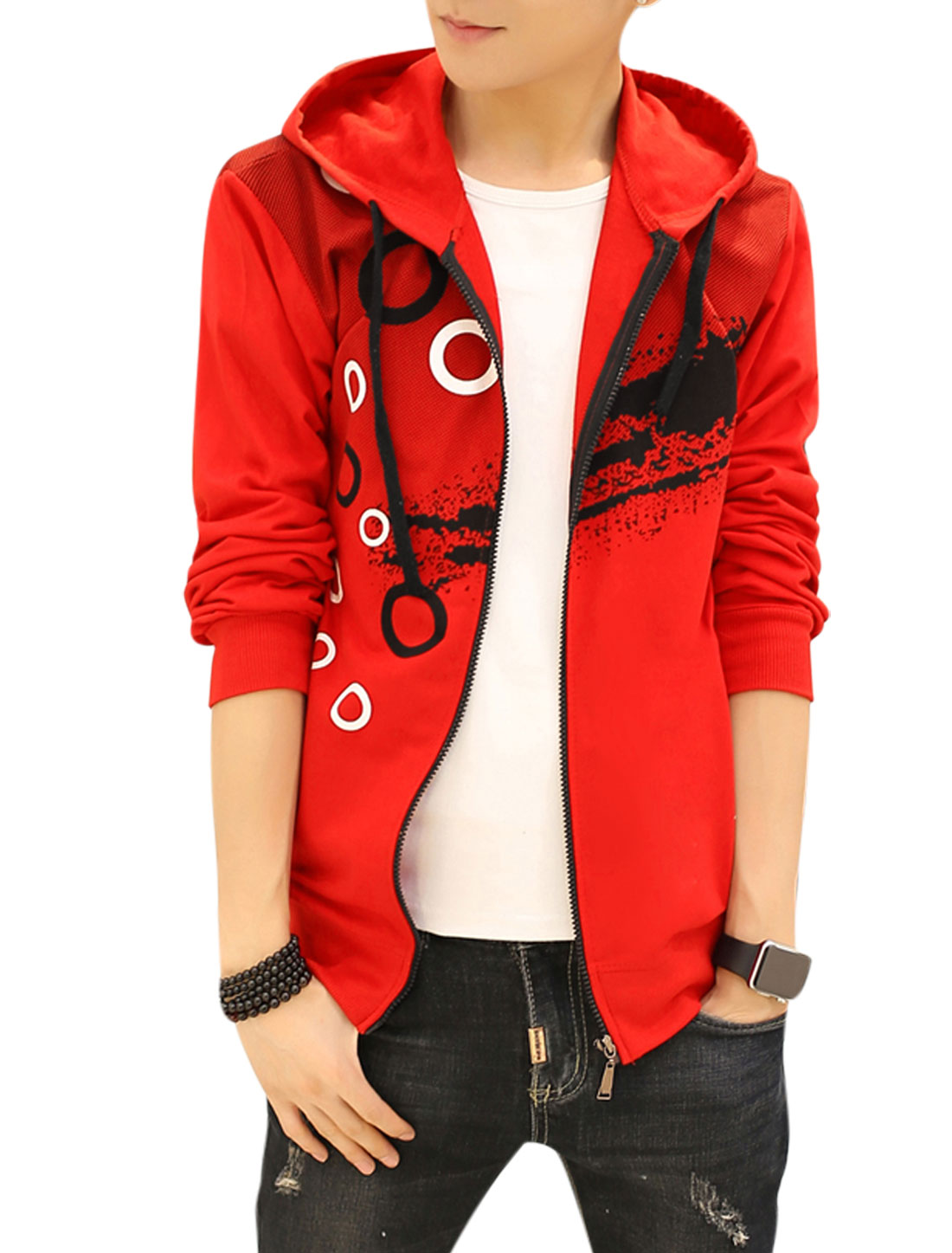 Men Slim Fit Hooded Dots Circle Splash-ink Print Jacket Red S