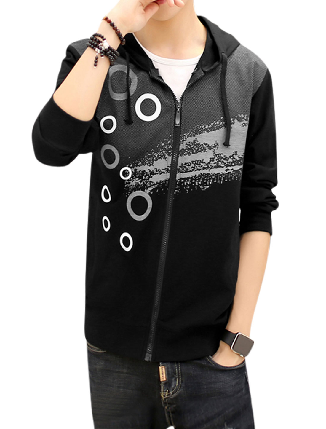 Men Slim Fit Hooded Dots Circle Splash-ink Print Jacket Black S