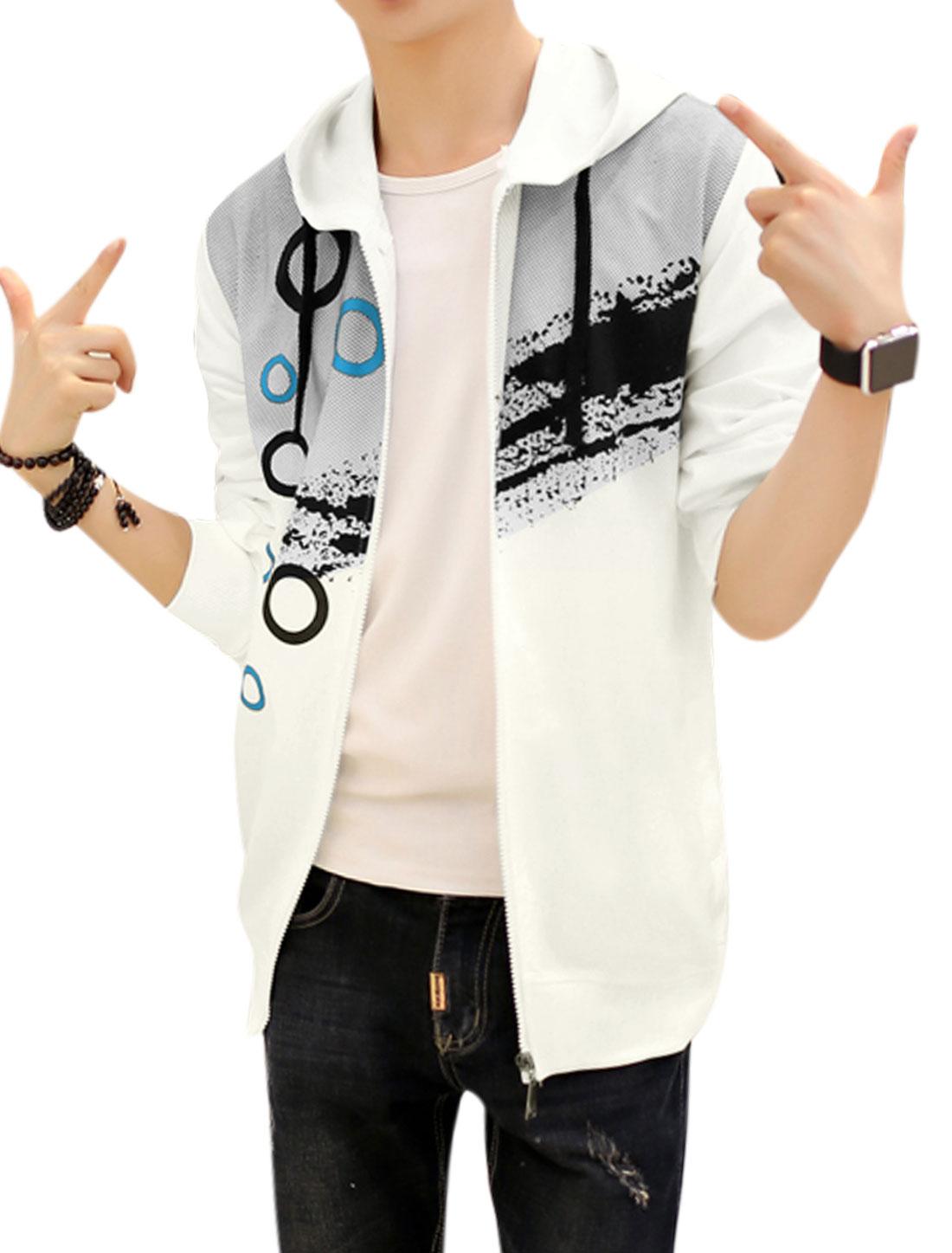 Men Slim Fit Hooded Dots Circle Splash-ink Print Jacket White S