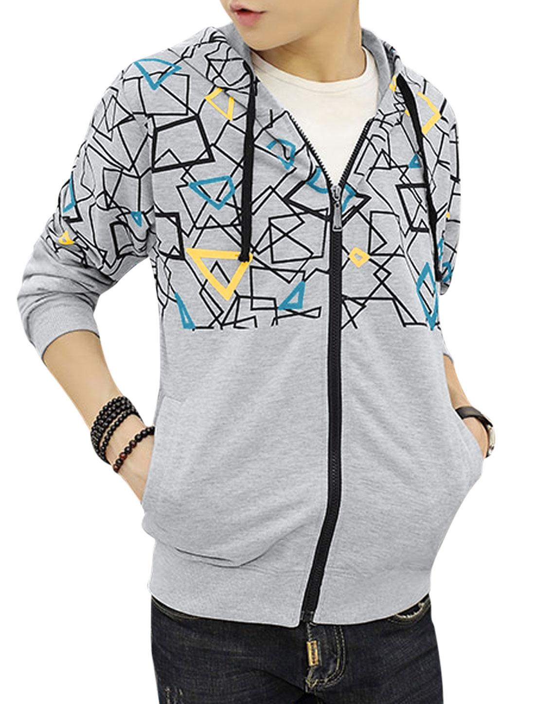 Men Hooded Slim Fit Slant Pockets Geometric Jacket Gray S